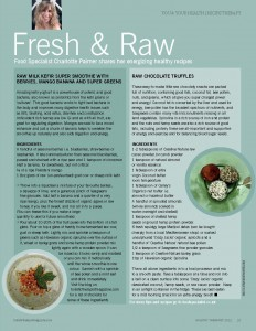 Holistic Therapist Magazine - Fresh & Raw - Summer 2013 - Charlotte Palmer article