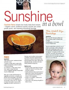 Holistic Therapist Magazine - Sunshine in a bowl - Jan-Feb-Mar 2013 - article by Charlotte Palmer Food Specialist