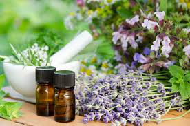 Image - Essential oils in bottles. pictured with some of the flowers that oils are made from and a pestle and mortar.