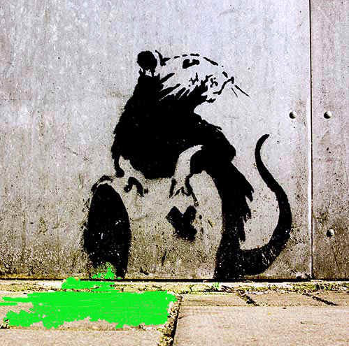 Image - One of Banksy's rat graffs. Rats eat what we throw away, rubish!