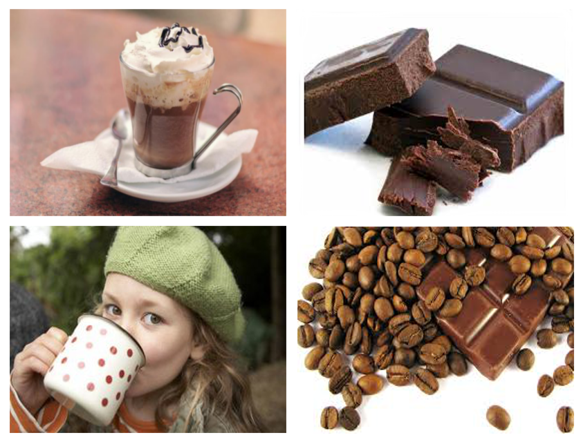 Four pictures of cappuccino, chocolate, a child drinking from a mug and brown beans and chocolate